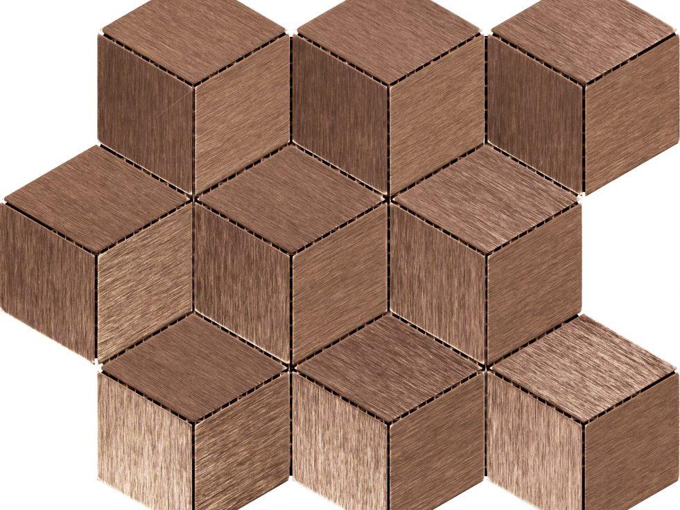 RB50L.3D09 Copper Sanded mosaico, mosaique, cubi, design, qualità, anodizzato, alu, aluminium, alluminio, metallo, graffiato, nastrato, rivestimenti parete, ottone, mosaic, a